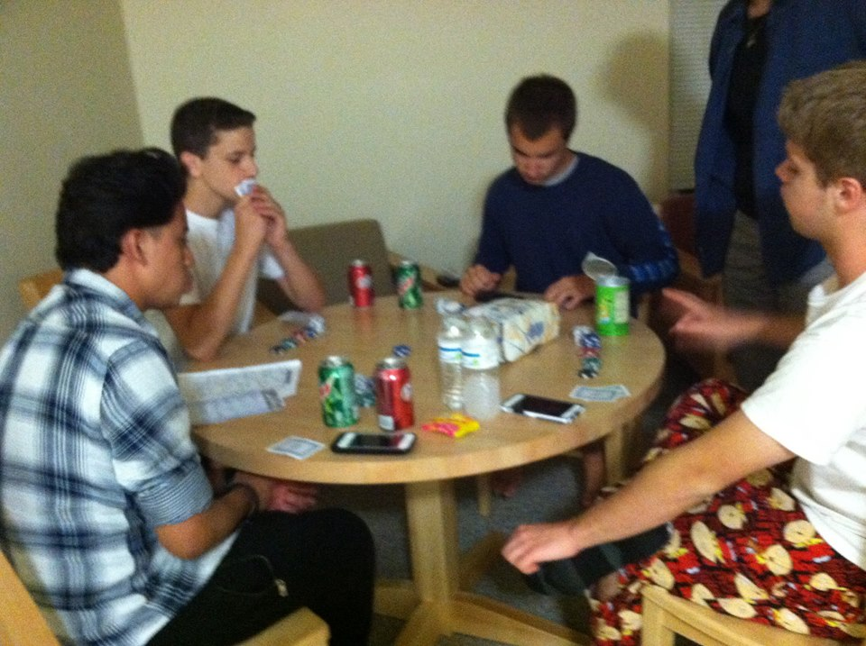 In their down time, the boys gather in their living quarters to play games of poker and Texas holdem'
